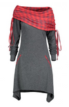 Womens Long Sleeve Dress with Tartan Scarf
