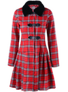 Tartan Coat • Skirted Style with Faux Fur Collar