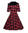 Womens Vintage Style Dress • Black and Red Plaid