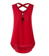 Womens Criss cross Tank top with Front Zipper • Red