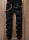 Mens Jeans • Black Jogger Style Jeans • Distressed with Zipper detail