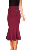 Fishtail Midi Skirt • Wine Red