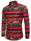 Mens Vintage Style Shirt • Elephant Print • Red