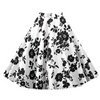 Vintage Style Flared Skirt • Black and White Floral Print