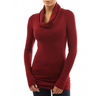 Womens Long Sleeve Cowl Neck Top • Red