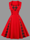Vintage style Tartan Panel Dress • Red with Black and Red Tartan • Plus Size