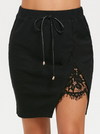 High Waist Skirt • Lace Panel Split • Black