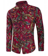 Mens Vintage Style Paisley Shirt • Floral and Paisley Print • Red