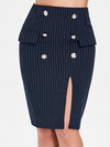 Pinstripe Bodycon Skirt with Slit