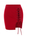 Bodycon Lace up Mini Skirt • Red