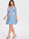 Polka Dot Flare Dress with V Neck Line • Blue with White Spots