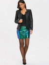 Sequin Mini Skirt with Back Zip • Blue Green Tones