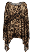 Womens Plus Size • Leopard Print Asymmetrical Top