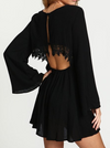 Black Flare Sleeve Dress with Hollow Back