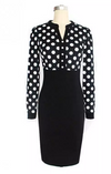 Womens Long sleeve Polka Dot Dress with Black Skirt