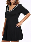 Womens V Neck Skater Dress • Plus Size