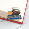 Lapel Pin • Coffee and Books • By Jubly Umph