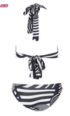 Womens Bathers • Black and white Abstract Stripe Bikini