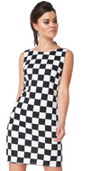 Black and White Chequered Shift Dress