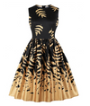 Vintage Style Fit and Flare Dress • Black with Gold Leaf Print