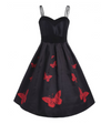 Vintage Fit and Flare Style Dress • Black with Red Butterflies