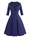 Vintage Style Swing Dress with Shawl Collar • Blue and Black