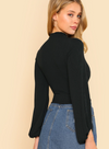 Womens Lantern Sleeve Crop Top • Black