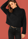 Teddy Crop Sweater • Black