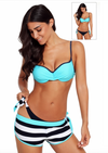Bathers • Striped Bikini with Dual Bottoms