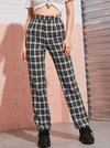 Womens Tartan Straight Leg Pants • Black and White