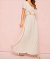 Womens V Neck Ruffle Trim Dress