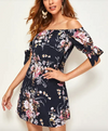 Womens Knotted Sleeve Floral Dress