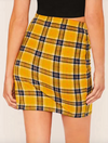 Womens Yellow Tartan Pencil Skirt