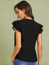 Womens Pleated Cap Sleeve Top