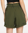 Womens High Waist Army Green Shorts