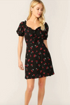Womens Cherry Print Babydoll Dress