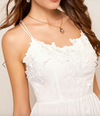 Womens White Dress with Lace Detail
