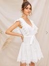 Womens White Lace Trim Dress