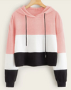 Womens Colour Block Crop Hoodie • Pink White and Black