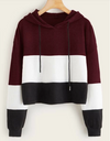 Womens Colour Block Crop Hoodie • Maroon White and Black