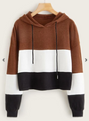 Womens Colour Block Crop Hoodie • Brown White and Black