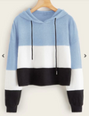 Womens Colour Block Crop Hoodie • Blue White and Black