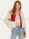 Womens White Teddy Bomber Jacket with Red Contrast
