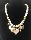 Necklace Metallic Pearl Choker with Seven  Hearts