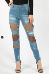 Womens Frayed Fishnet Skinny Jeans