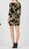 Sequin Leaf Bodycon Dress • Black/Gold