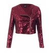 Sequin Biker Jacket • Wine