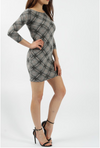 3/4 sleeves Mini Dress party dress Bodycon Dress dress missi london fitted checked bodycon