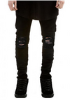 Men's Black Denim Jeans • Skinny Frayed Knee
