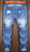 Men's Jeans • Faded Frayed Blue denim